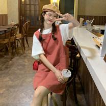 Dress Summer 2021 Black strap skirt , Red strap skirt Average size Short skirt singleton  Sleeveless commute High waist Solid color other Others 18-24 years old Type H Korean version