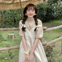 Dress Summer 2021 Floral Shirt piece, apricot suspender skirt piece Average size longuette singleton  Sleeveless commute other Loose waist Solid color Socket A-line skirt other camisole 18-24 years old Type A Korean version 30% and below other other