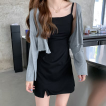 Dress Spring 2021 Grey cardigan piece, black suspender skirt piece Average size Short skirt Two piece set Sleeveless commute V-neck High waist Solid color A-line skirt camisole 18-24 years old Type A Korean version