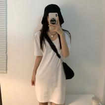 Dress Summer 2021 White, black Average size Short skirt singleton  Short sleeve commute V-neck High waist Solid color A-line skirt routine Others 18-24 years old Type A Korean version