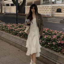 Dress Spring 2021 White suspender skirt piece, black suspender skirt piece, khaki suit piece S, M longuette singleton  Sleeveless commute V-neck High waist Solid color Socket A-line skirt other camisole 18-24 years old Type A Korean version
