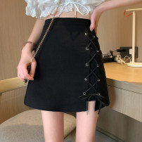 skirt Spring 2021 S,M,L black Short skirt Versatile High waist A-line skirt Solid color Type A 18-24 years old More than 95% polyester fiber Frenulum