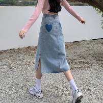 skirt Summer 2021 S,M,L Light blue, dark blue Mid length dress commute High waist A-line skirt Solid color Type A 18-24 years old 30% and below other other Pocket, button, zipper Korean version
