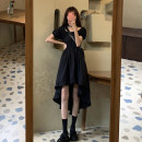 Dress Spring 2021 black Average size longuette singleton  Short sleeve commute square neck High waist Solid color Socket Irregular skirt puff sleeve Others 18-24 years old Type A Korean version 30% and below other other