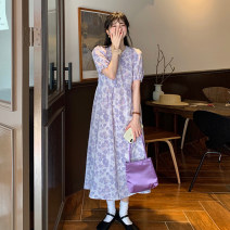 Dress Summer 2021 Purple, pink Average size Mid length dress singleton  Long sleeves commute other High waist Broken flowers A-line skirt puff sleeve Others 18-24 years old Type A Korean version