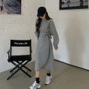 Dress Spring 2021 Gray, black Average size longuette singleton  Long sleeves commute Crew neck Loose waist Solid color other A-line skirt routine 18-24 years old Type A Korean version Frenulum