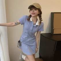 Dress Summer 2021 blue Average size Short skirt singleton  Short sleeve commute Polo collar High waist Solid color Socket other other Others 18-24 years old Type A Korean version