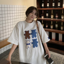 T-shirt White, black Average size Summer 2021 Short sleeve Crew neck Straight cylinder Medium length routine commute other 30% and below 18-24 years old Korean version youth Solid color