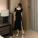 Dress Summer 2021 Purple, black Average size longuette singleton  Short sleeve commute square neck High waist Solid color Socket Irregular skirt puff sleeve Others 18-24 years old Type A Korean version 1861# 30% and below other other