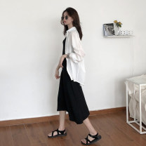 shirt Single white shirt, single black skirt Average size Summer 2021 other 30% and below Long sleeves commute Regular Polo collar Single row multi button routine Solid color 18-24 years old Straight cylinder Korean version Button