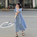 Dress Summer 2021 White, green, blue Average size Mid length dress singleton  Short sleeve commute V-neck High waist Solid color A-line skirt puff sleeve Others 18-24 years old Type A Korean version A811