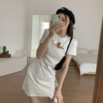 Dress Summer 2021 White, black Average size Short skirt singleton  Short sleeve commute Crew neck High waist Solid color other A-line skirt routine Others 18-24 years old Type A Korean version