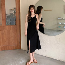 Dress Summer 2021 Gray, black S, M longuette singleton  Sleeveless commute V-neck High waist Solid color Socket Irregular skirt other camisole 18-24 years old Type A Korean version 30% and below other other