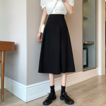 skirt Summer 2021 S,M,L Black, grayish blue Mid length dress commute High waist A-line skirt Solid color Type A 18-24 years old Korean version