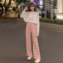 Fashion suit Summer 2021 Average size Pink pants piece, black pants piece, white coat piece, black coat piece 18-25 years old