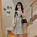 Dress Summer 2021 Jacket piece, skirt piece Average size Mid length dress singleton  Sleeveless commute V-neck High waist Broken flowers Socket A-line skirt routine camisole 18-24 years old Type A Korean version bow 30% and below other other