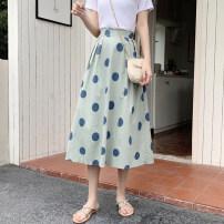 skirt Summer 2021 S, M Apricot, light green, light blue, white Mid length dress commute High waist A-line skirt Dot Type A 18-24 years old other Korean version