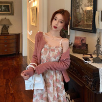 Dress Spring 2021 Flower dyed pink dress piece, Dousha red cardigan piece S. M, average size Mid length dress Two piece set Sleeveless commute other High waist Broken flowers A-line skirt other camisole 18-24 years old Type A Korean version