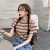 T-shirt Light blue, dark blue, coffee Average size Summer 2021 Short sleeve Crew neck Self cultivation have cash less than that is registered in the accounts routine commute other 30% and below 18-24 years old Korean version youth Pinstripes, color matching