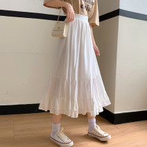 skirt Spring 2021 Average size White, purple Mid length dress commute High waist A-line skirt Solid color Type A 18-24 years old Korean version