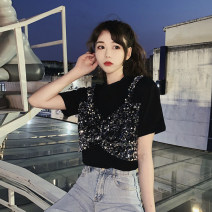 T-shirt White, black Average size Summer 2021 Short sleeve Crew neck easy Regular routine commute other 30% and below 18-24 years old Korean version youth Splicing Nail bead