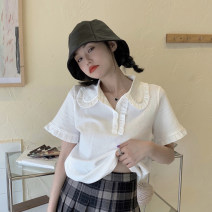 T-shirt white Average size Summer 2021 Short sleeve Polo collar Straight cylinder have cash less than that is registered in the accounts routine commute other 30% and below 18-24 years old Korean version youth Button