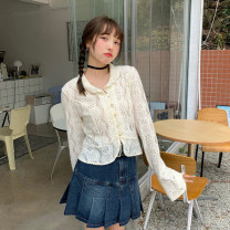 shirt Jacket piece, pleated skirt piece One size fits all, s, m, l Summer 2021 other 30% and below Long sleeves commute Short style (40cm < length ≤ 50cm) Polo collar Single row multi button pagoda sleeve Solid color 18-24 years old Straight cylinder Korean version Cut out, button