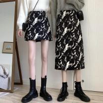 skirt Spring 2021 S,M,L Black short, black long Short skirt commute High waist A-line skirt Decor Type A 18-24 years old printing Korean version