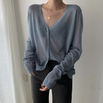 Wool knitwear Summer 2021 Average size Gray, white, violet, purple, green, black, orange, turmeric, pink, hazel blue Long sleeves singleton  Cardigan other 30% and below Regular Thin money commute easy V-neck routine Solid color Single breasted Korean version 18-24 years old Button