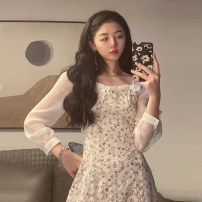 Dress Summer 2021 Graph color S,M,L Short skirt singleton  Long sleeves commute square neck High waist Decor Socket A-line skirt routine Others 18-24 years old Type A Korean version Ruffles, stitching 30% and below other other