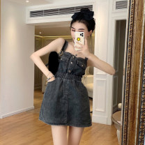 Dress Summer 2021 Blue, black and gray Average size Short skirt singleton  Sleeveless commute High waist Solid color other A-line skirt straps 18-24 years old Type A Korean version