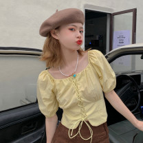 shirt Blue, yellow Average size Summer 2021 other 30% and below Short sleeve commute Short style (40cm < length ≤ 50cm) square neck Frenulum puff sleeve Solid color 18-24 years old Straight cylinder Korean version