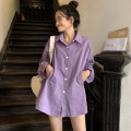 shirt White, purple, green, black Average size Spring 2020 other 96% and above Long sleeves commute Medium length Polo collar Single row multi button routine Solid color 18-24 years old Straight cylinder Korean version BYW311