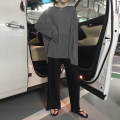 T-shirt Black top, gray top, white top, brown top, apricot wide leg pants, gray wide leg pants, black wide leg pants Average size Spring 2020 Long sleeves Crew neck easy routine commute other 86% (inclusive) -95% (inclusive) 18-24 years old Korean version Solid color BYW211