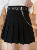skirt Autumn 2020 S,M,L,XL Black with belt, gray with belt Short skirt Versatile High waist Pleated skirt lattice Type A 18-24 years old YM2661 30% and below