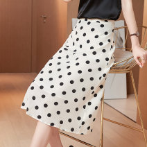 skirt Spring 2021 M,L,XL White, black Mid length dress commute High waist A-line skirt Dot Type A More than 95% Coffee and jade silk Korean version