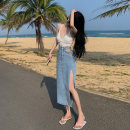 skirt Summer 2021 S M Blue black Mid length dress commute High waist Irregular 18-24 years old 5135-4..... More than 95% Nicko / Ning Kou other Korean version Other 100% Pure e-commerce (online only)