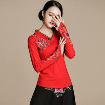 T-shirt Red, elegant black M,L,XL,2XL,3XL,4XL,5XL Long sleeves V-neck Self cultivation Regular cotton 86% (inclusive) -95% (inclusive) Plants and flowers Other / other 171210 deduction Stitching, embroidery
