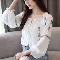 Lace / Chiffon Autumn of 2018 white S,M,L,XL,2XL Long sleeves commute Socket singleton  Straight cylinder Regular One word collar Solid color bishop sleeve Korean version polyester fiber