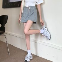 skirt Summer 2021 Average size Gray, off white, green, black Short skirt commute High waist A-line skirt Solid color Type A 18-24 years old 71% (inclusive) - 80% (inclusive) polyester fiber Korean version