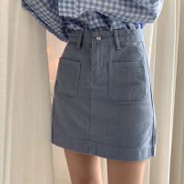 skirt Summer of 2019 S,M,L,XL Blue, black, apricot Short skirt Versatile High waist Pleated skirt lattice Type A 25-29 years old 51% (inclusive) - 70% (inclusive) polyester fiber