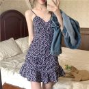 Dress Summer 2021 Purple, green S, M Short skirt singleton  Sleeveless commute High waist Broken flowers Socket A-line skirt routine camisole 18-24 years old Type A Korean version printing 71% (inclusive) - 80% (inclusive) polyester fiber
