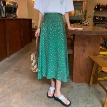 skirt 71% (inclusive) - 80% (inclusive) polyester fiber High waist 1 18-24 years old Korean version A-line skirt Summer 2021 Medium length skirt commute Type A Broken flower One size fits all Green, Navy