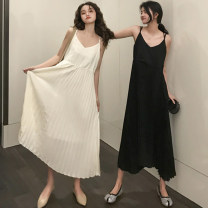 Dress Summer of 2019 Black, cream apricot Average size Mid length dress singleton  Sleeveless commute V-neck High waist Solid color other Pleated skirt other camisole 18-24 years old Type A Other / other Korean version 51% (inclusive) - 70% (inclusive) Chiffon polyester fiber