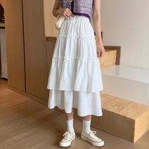 skirt Summer 2021 M, L White, purple, black Mid length dress commute High waist Cake skirt Solid color Type A 18-24 years old 91% (inclusive) - 95% (inclusive) other Other / other polyester fiber Splicing Korean version