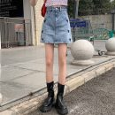 skirt Summer 2021 S,M,L blue Short skirt commute High waist Denim skirt Solid color Type A 18-24 years old 71% (inclusive) - 80% (inclusive) Denim Other / other polyester fiber pocket Korean version
