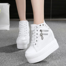 High shoes Internal elevation White 681 black 681 blue 681 white 1616 broken code Round head 35 36 37 38 39 Other / other cloth cloth Super high heel (over 8cm) Spring 2017 zipper Youth (18-40 years old) Korean version polyurethane Adhesive shoes Solid color Pohee muffin and waterproof platform cloth