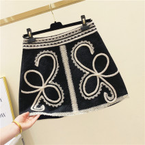 skirt Spring 2021 S,M,L,XL black Short skirt commute High waist A-line skirt other Type A 25-29 years old 51% (inclusive) - 70% (inclusive) brocade other Embroidery Korean version