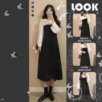 Dress Autumn of 2019 S,M,L,XL,2XL Mid length dress Two piece set Long sleeves commute Crew neck High waist Solid color Socket A-line skirt routine straps 18-24 years old More than 95% knitting other