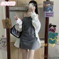 Dress Winter 2020 White sunscreen shirt, grey suspender skirt, white sunscreen shirt + grey suspender skirt XS,S,M,L,XL Mid length dress Two piece set Long sleeves commute Crew neck High waist Solid color Socket routine 18-24 years old More than 95% knitting other